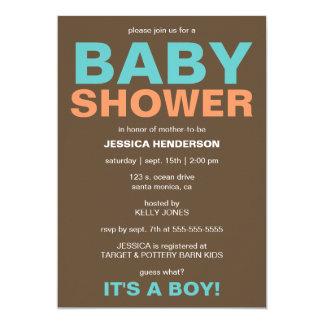 Modern Baby Boy Shower Invitation - Brown/Teal