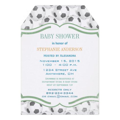 Modern Baby Boy Soccer Shower Custom Invitation