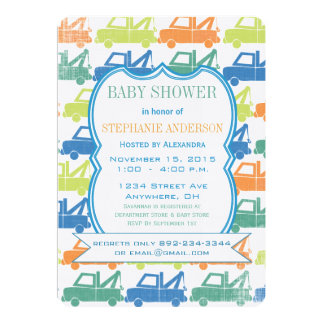 Modern Baby Boy Tow Truck Shower Personalized Announcements