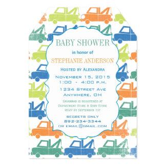 Modern Baby Boy Tow Truck Shower Custom Invitation