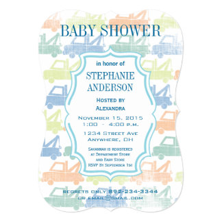 Modern Baby Boy Tow Truck Shower Personalized Invitations