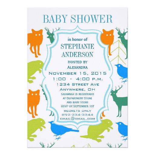 modern baby boy woodland creatures shower custom announcement zazzle