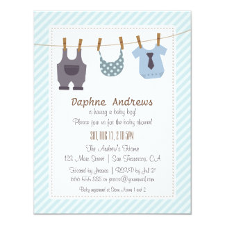 Modern Baby Clothes Baby Boy Shower Invitations