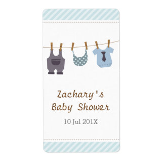 Modern Baby Clothes Baby Boy Shower Party Shipping Label
