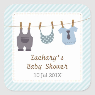 Modern Baby Clothes Baby Boy Shower Party Square Sticker