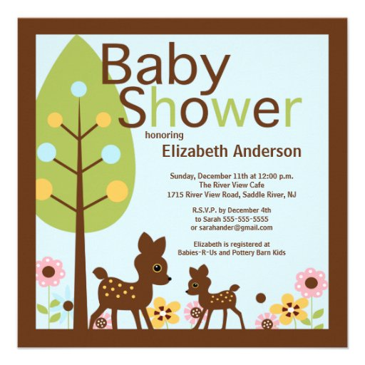 Baby Deer Baby Shower Invitations