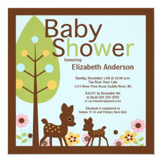 Modern Baby Deer Boy Baby Shower Invitation