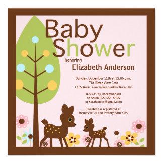 Modern Baby Deer Girl Baby Shower Invitation