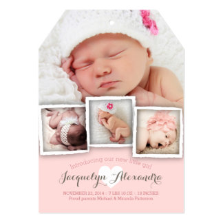 "Modern Baby Dreams Sweet Girl Birth Announcement 5"" X 7"" Invitation Card"