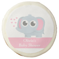 Modern Baby Elephant Baby Girl Shower Sugar Cookie