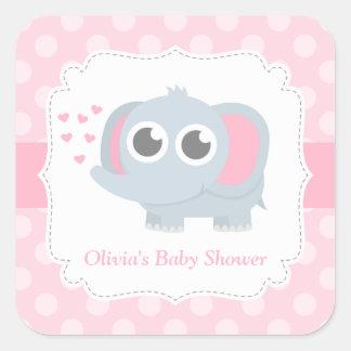 Modern Baby Elephant Polka Dots Baby Shower Square Sticker