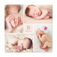 Modern Baby Girl Monogram Photo Collage Canvas