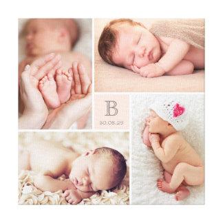 Modern Baby Girl Monogram Photo Collage Canvas