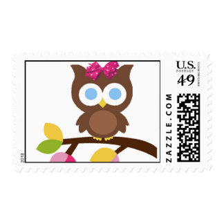 Modern Baby girl Owl Stamps