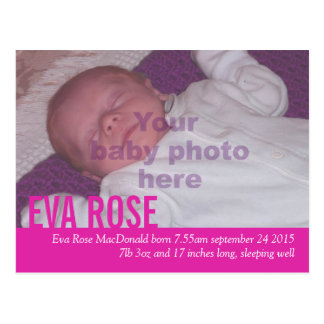 Modern baby girl pink photo announcement postcard