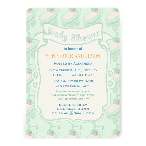 modern baby mint gender neutral baby buggy shower personalized invite