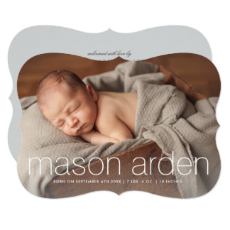 Modern baby name three photo birth announcement