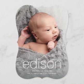 Modern baby name three photo birth announcement