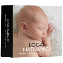 Modern Baby Photo Album - Black 3 Ring Binder