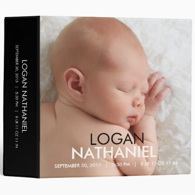 Modern Baby Photo Album - Black 3 Ring Binder