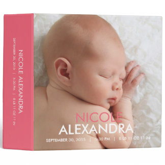 Modern Baby Photo Album - Pink Binder