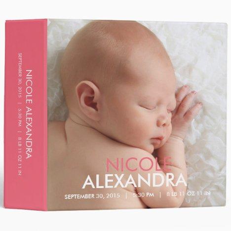 Modern Baby Photo Album - Pink Binder