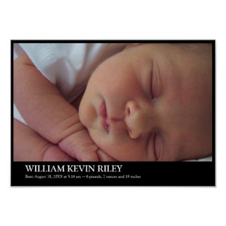 Modern baby photo statistic wall hanging art black poster