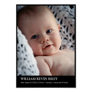 Modern baby photo vertical wall hanging art black poster