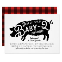 Modern Baby Q BBQ Baby Shower Vintage Typography Invitation