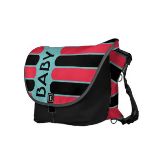 Modern Baby Red and Turquoise Stripes Courier Bag