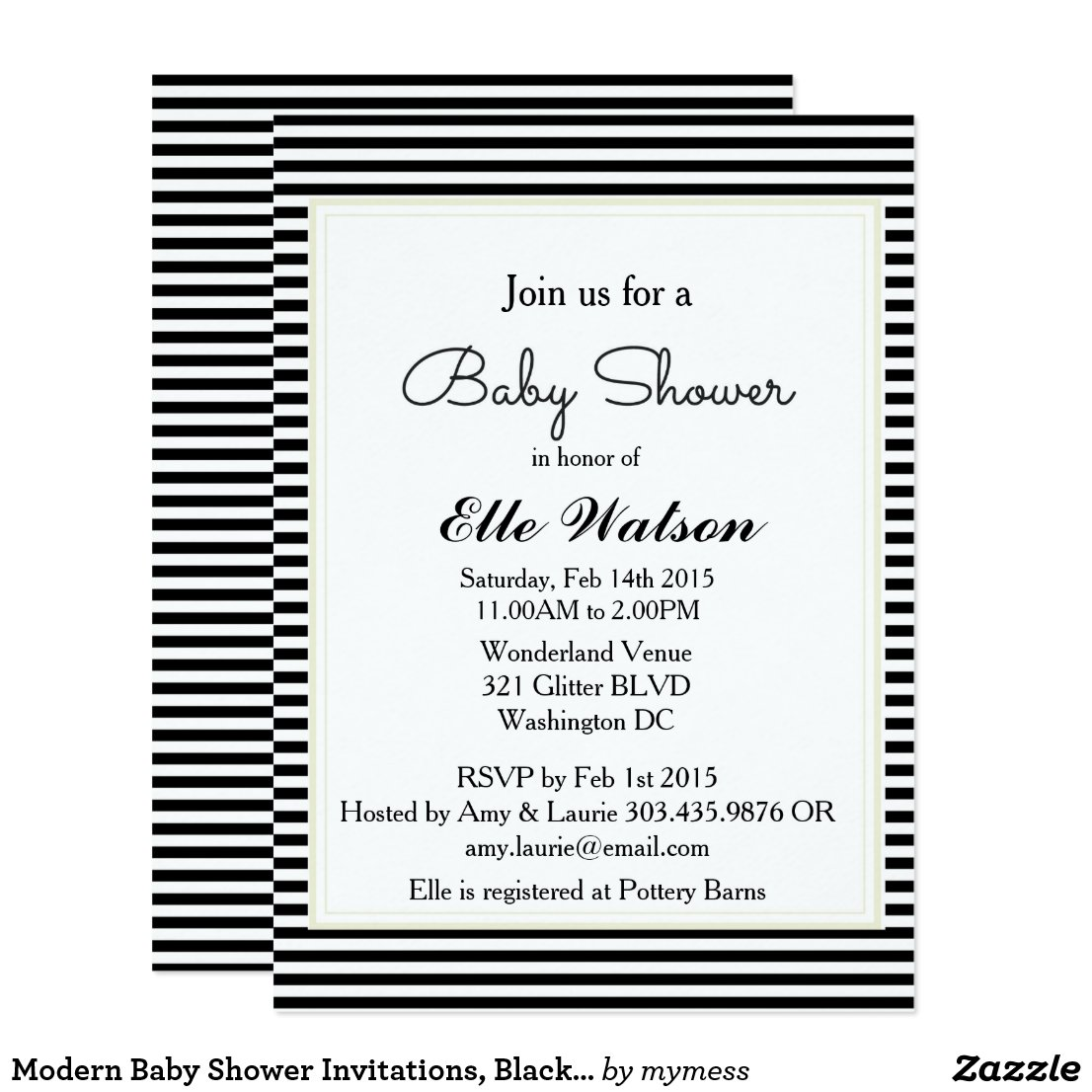 Modern Baby Shower Invitations, Black White Stripe Card