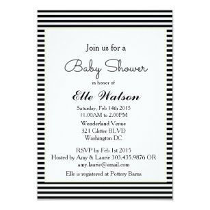 Black and white baby shower invitations announcements zazzle modern baby shower invitations black white stripe invitation filmwisefo