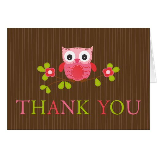 Modern Baby Shower Owl Thank You Note Card