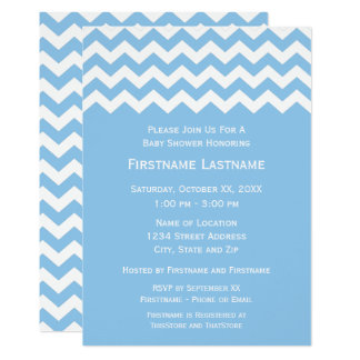 Modern Baby Shower with Blue & White Chevrons Card