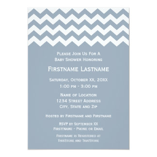 Modern Baby Shower with Blue & White Chevrons 5x7 Paper Invitation Card