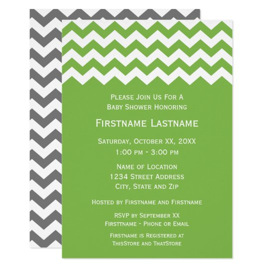 Modern Baby Shower with Green & White Chevrons Card