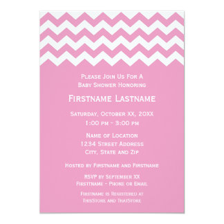 Modern Baby Shower with Pink and White Chevrons 5x7 Paper Invitation Card