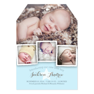 Modern Baby Sweet Baby Boy Birth Announcement