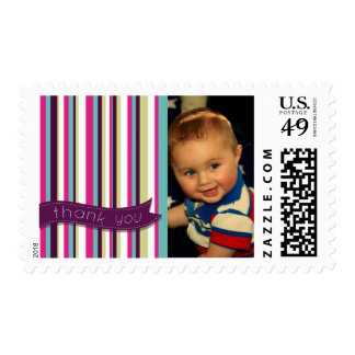 Modern Baby Thank You Stripes Postage Stamp