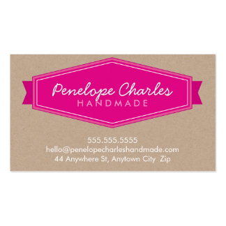 MODERN BADGE LOGO bright bold pink eco Kraft Business Card Template