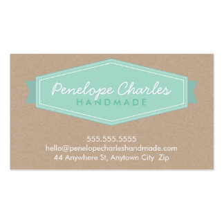 MODERN BADGE LOGO pastel bold mint Eco kraft Business Cards