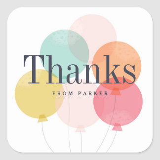 Modern balloon bunch thank you sticker