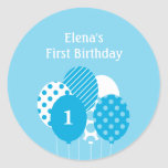 Modern Balloons Gift Tag or Favor Sticker - Blue Sticker