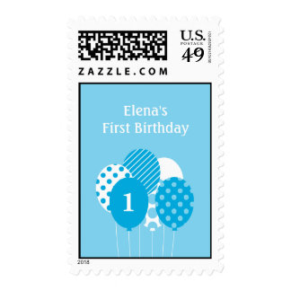 Modern Balloons Personalized Postage Stamp - Blue