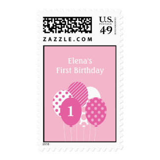 Modern Balloons Personalized Postage Stamp - Pink