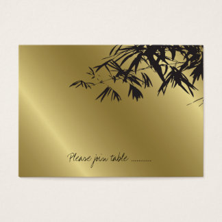 Modern Bamboo Leaves Black Gold Wedding Place Card