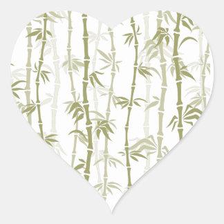 Modern Bamboo Trees Heart Sticker
