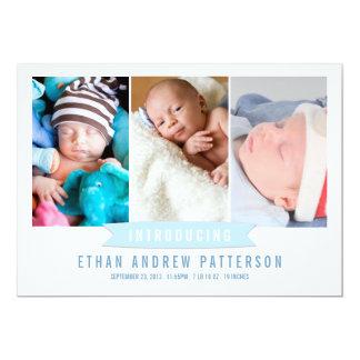 Modern Banner Baby Boy Photo Birth Announcement