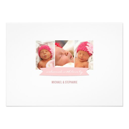 Modern Banner Baby Girl Photo Birth Announcement (back side)