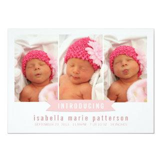 "Modern Banner Baby Girl Photo Birth Announcement 5"" X 7"" Invitation Card"